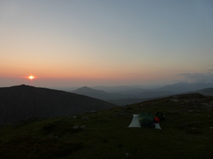 Dusk approaching on the summit of Coniston Old Man.
