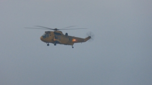 The Sea King heading for Dow Crag.