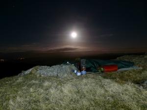 Bivvy under moonlight.