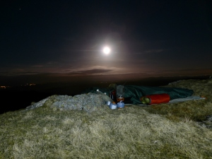 Bivvy under moonlight.