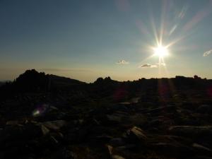 Sunshine and mountains.